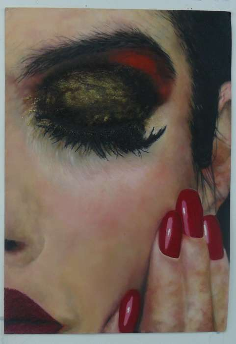 \'Masquerade\', oil painting, enamel, wax on paper, 82cms x 58cms