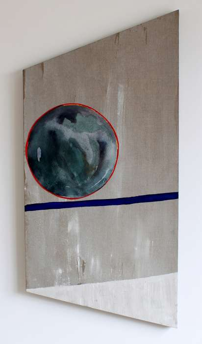 Mirror, 2013 Acrylic, gouache and painted canvas on linen, 100 x 50cm