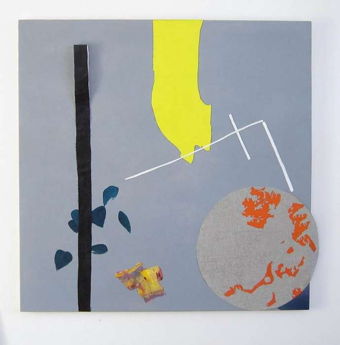 Light Shaft, 2011 Acrylic and found objects on canvas, 100 x 104cm