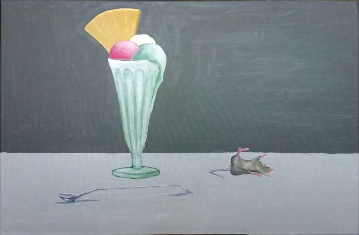 \'Three Scoops and a Dead Mouse - Ol on canvas