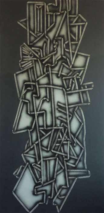 Laced Cubism; acrylic and spray paint on canvas; 168x85; 2014
