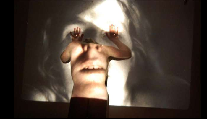 Mother with Daughter, projection on figure