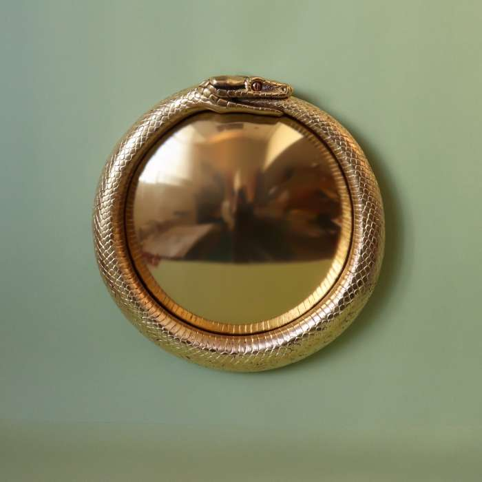 Adder convex mirror - carved and gilded lime wood