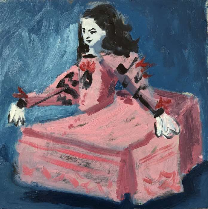 Menina In Motion (after Velazquez), 2019, 15x15cm, oil on board